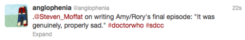 "@anglophenia: .@Steven_Moffat on writing Amy/Rory's final episode: ""It was genuinely, properly sad."" ‪#doctorwho‬ ‪#sdcc"