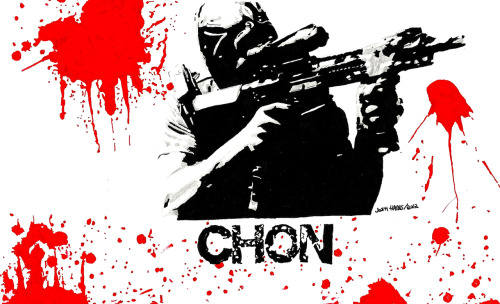 Chon shoots 'em up.  My new hand-drawn neo-noir poster of #TaylorKitsch as #Chon in #Savages.
