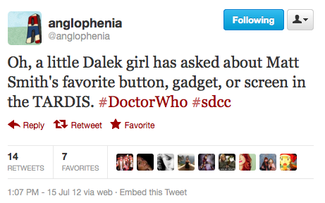 @anglophenia: Oh, a little Dalek girl has asked about Matt Smith's favorite button, gadget, or screen in the TARDIS. ‪#DoctorWho‬ ‪#sdcc