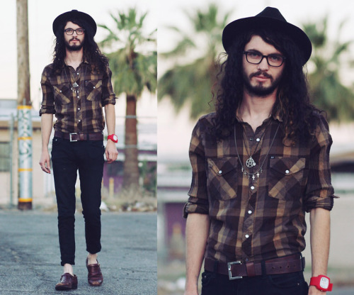 "(via Secondhand Fedora, Leather Dress Shoes //""BROWN PLAID"" by Travis McFarland // LOOKBOOK.nu)"