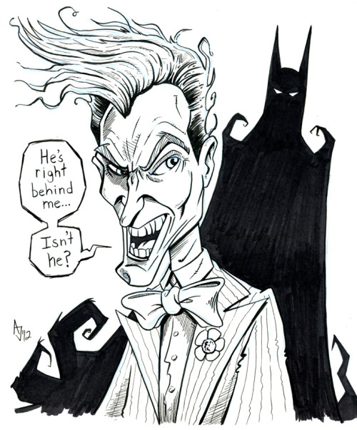 "The Joker and Batman. Micron pen, brush pen and Prismacolor marker on 11 x 14"" bristol. Original artwork is for sale"