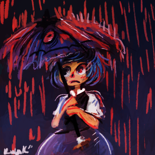 "nokocchi:  yuck yuck yuck why is it raining blood :""C Kogasa I surely hope you weren't the one that caused it! riggghhht?"