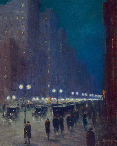 poboh:  Lower Fifth Avenue at Night, Guy Wiggins. American Impressionist Painter (1883 - 1962)