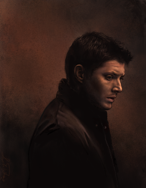 amandatolleson:  Dean Winchester by =AmandaTolleson dean and cas dean and cas blah blah sorry I know. anyways…. it's a dean winchester again. kinda sketchy painterly thing that looks weird. I will draw some new people soon! I have a sam one almost done. and a couple more castiel ones yes. but I also want to draw some people from merlin and some other stuff too. painted from scratch on corel painter with smeary oil round brush and blender for dean and a couple different oil paint brushes for the backround.