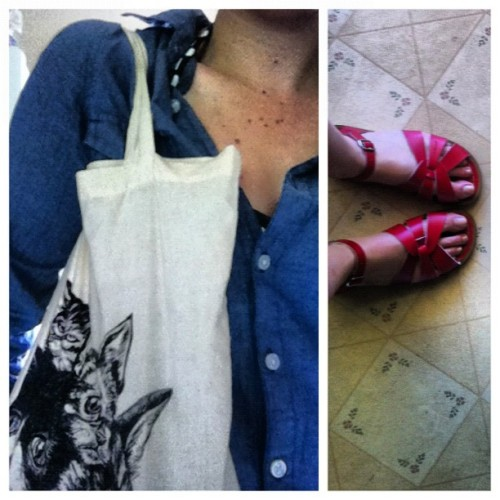 Cat tote + Saltwaters. Thinking of @littlefeets! (Taken with Instagram)