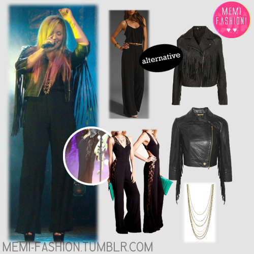 "Jumpsuit (1): Revolve Clothing Hayley Jumpsuit - ALTERNATIVE Jacket (1): Top Shop FRINGED LEATHER BIKER JACKET - ALTERNATIVE Jumpsuit (2): The Reformation HAIL JUMPER - EXACT? Jacket (2): The Outnet Mikhaila fringed leather jacket - EXACT! Necklace: Endless Jenny Bird ""Leather & Chain"" Brass and Gold Layered Chain Necklace - SIMILAR"