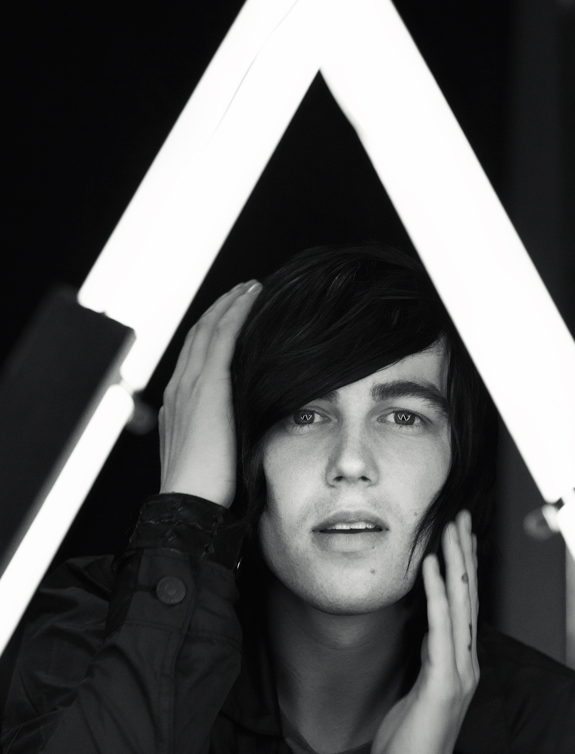 jonathanweiner:  Kellin Quinn of Sleeping With Sirens, Los Angeles 2012. This portrait was for theAugust AP #289, Warped Tour special. I built a special light for these portraits that leaves a catch light in the eyes in the shape of a W (for Warped).