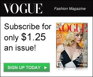 Such a great offer! highway-to-fashion:  Vogue Banner do you want to get a huge retail on your new Vogue subscription, click on the banner picture and you will get one year subscription for only 14,99
