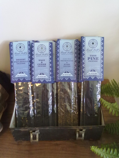 Super nice Fred Soll incense. Smokey. What we always burn in the shop. $8. Various earthy fragrances.