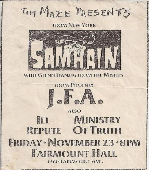 Samhain, JFA, Ill Repute, Ministry of Truth @ Fairmount Hall 1984