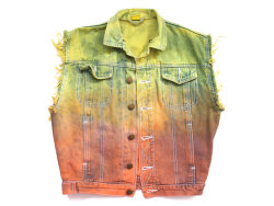 (via Ombre dip dyed denim vest M / L by deathdiscolovesyou on Etsy)