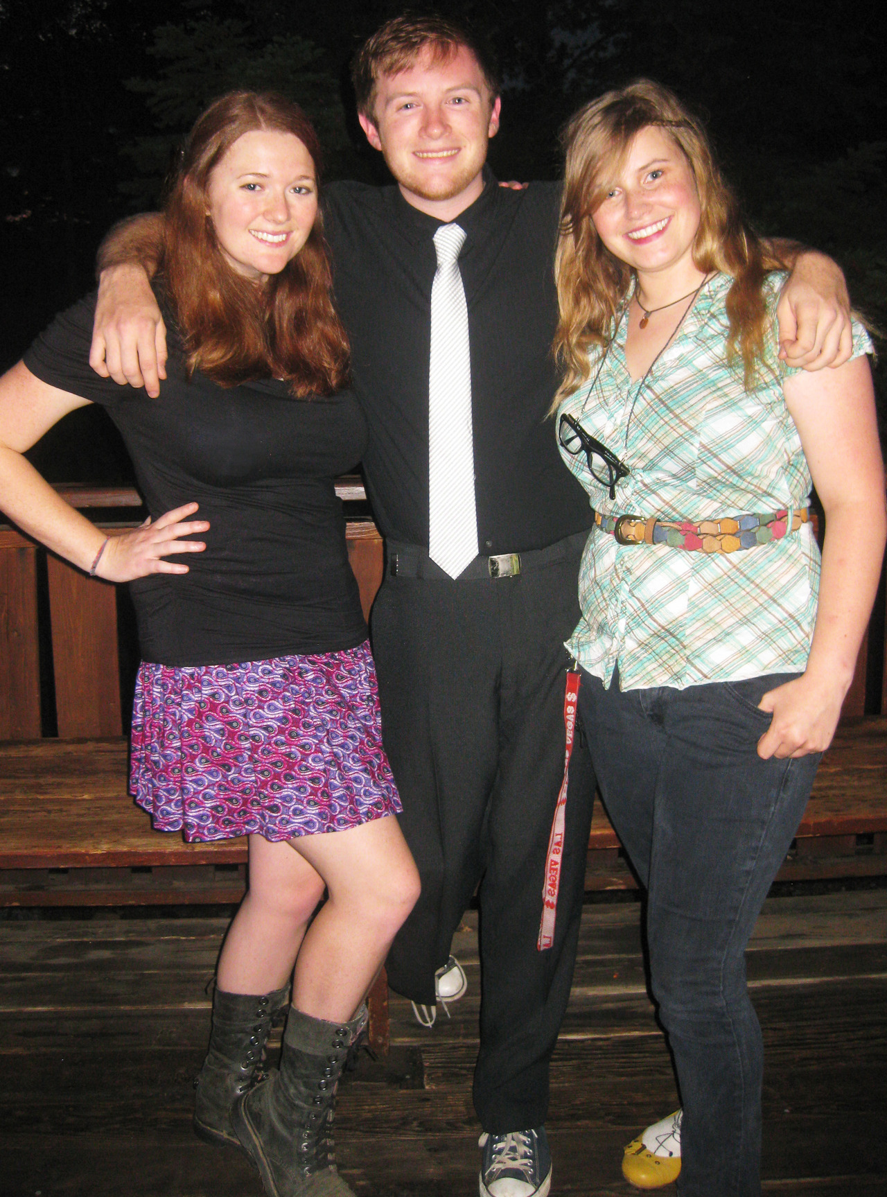 "Me/Riley/Thea dolled up for the dance at the junior high camp where we were all counselors together this past week. Together for 4+ years (although we only just realized a few months ago that we've been in a poly relationship all this time…definitely quite the ""aha!"" moment!)."