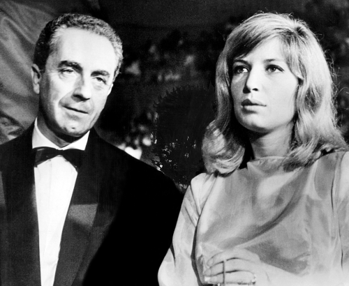 "karina-moreau-vitti:  Michelangelo Antonioni and Monica Vitti  Hoping this party ended better than ""La Notte."""
