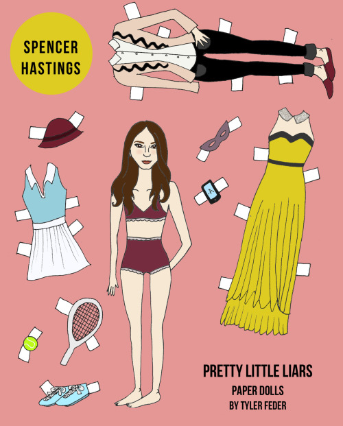 Pretty Little Liars paper dolls - Spencer Hastings.  Get your own personalized set at my shop.