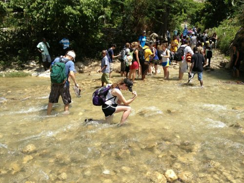 Tebowing in a river in the mountain villages of Haiti