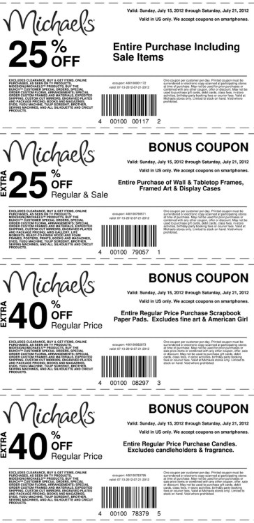 "truebluemeandyou:  Michaels Weekly Coupons and ads. Michaels also has ""daily deals"" that you can see on their website. For more coupons go to the link. The big coupon this week is the 25% off regular and sale items (read fine print) valid July 15th - July 21st, 2012. The sales on some things aren't as good as last week but everything sort of evens itself out if you use the 25% off coupon (for example the tee shirts were 5/$10 last week and are $3/$9 this week)."