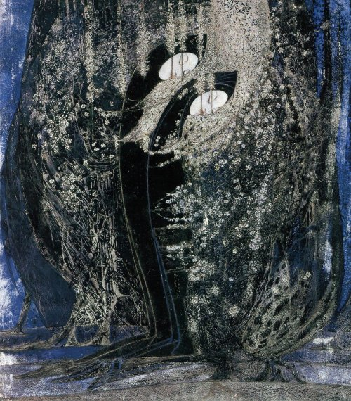 "birdsong217:  Margaret MacDonald (1864-1933) ""The Legend of The Blackthorns"", c1922. Pencil, watercolour and gouache on paper. Blackthorn or sloe is an early spring flowering shrub traditionally linked with death. It is probable this watercolour commemorated the death of Margaret MacDonald's sister, Frances MacNair, in December 1921.  The Hunterian Museum and Art Gallery, University of Glasgow."