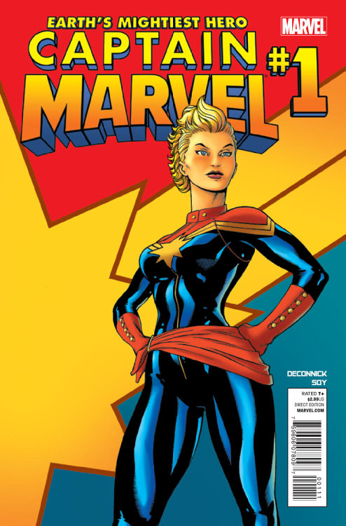 Market Monday Captain Marvel #1, written by Kelly Sue DeConnick  SHE'S BACK! The 'Mightiest' of Earth's Mightiest Heroes! Ace pilot. Legendary Avenger. 100% pure bad-a$$. Carol Danvers has a new name, a new mission … and all the power she needs to make her life a living hell. Guest starring Captain America.  ~Preview~