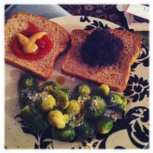 Burger and Brussels Sprouts. Delicious. #Fitblog Helga Viking Lens, Ina's 1935 Film, No Flash, Taken with Hipstamatic