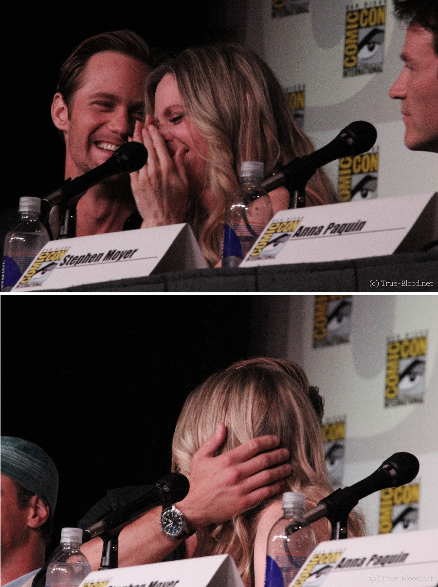 "suicideblonde:  Alexander Skarsgard and Kristin Bauer at the True Blood panel at San Diego Comic-Con, July 14th When she first read the script for her bedroom scene with Alexander Skarsgard this season, though, Kristin started to think her number had come up. ""It just said in the script, that I'm in bed, I get out of bed and I put on my robe. And I thought, 'Ok, that's not gonna be huge nudity,'"" she told the crowd. ""And I told my husband, 'You know, I feel pretty good about being naked in front of Alex, because he loves me, and he isn't going to critique my physique. But the crew …' And my husband just had this blank expression, and I thought, 'Uh-oh – I shouldn't have said I felt comfortable with Alex seeing me naked.' So I kept asking him what he was thinking, and finally he was like, 'Um, the 12 million people who watch the show?' And then I REALLY started going to the gym."""