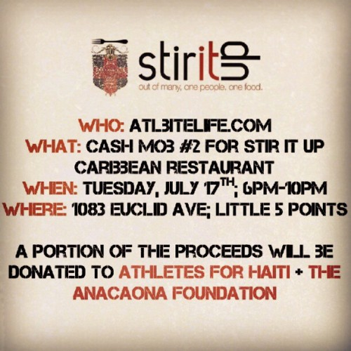 Ok, folks! ATL Bite Life #CashMob2 at @stiritupatl THIS TUESDAY 6-10pm!! Come eat some jerk chicken at the cool table with us for a good cause! (Taken with Instagram)