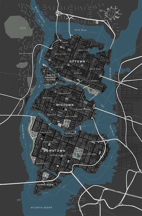 gothamarchitecture:  This map of Gotham City (obviously inspired by Manhattan) comes from the Nolan-verse.