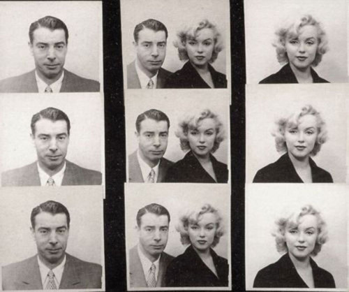 Passport photos of Joe Dimaggio & Marilyn Monroe, 1954.