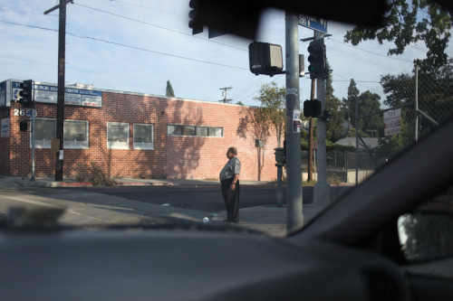 Waiting at the light, Beverly Blvd. Rampart Village, Los Angeles