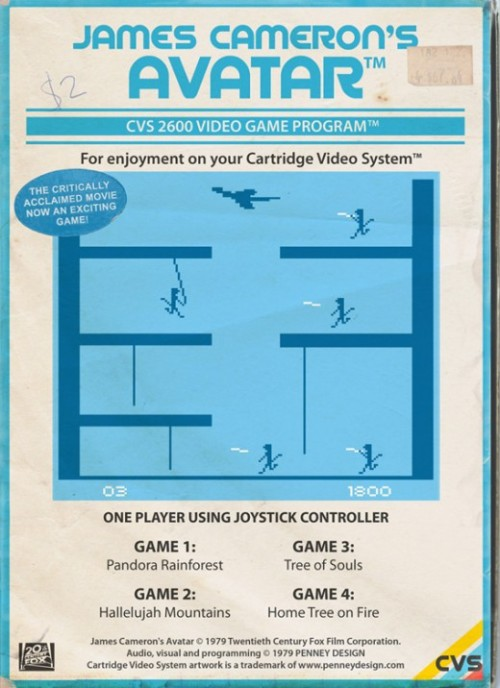 James Cameron's Avatar as an Atari cartridge. More here.