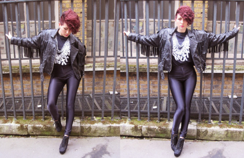 Street SMUT Alissa wearing vintage Leather Jacket Disco Pants from American Apparel Heels Jeffrey Campbell look-alikesSMUT chain t-shirt available online form:  http://www.smutclothing.co.uk/product/smut-chain-t-shirt Photo by Sascha SMUT