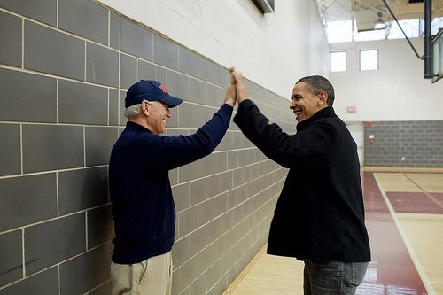 if you squint, it kinda looks like Obama is high-fiving Larry David which is just equally, if not, more awesome. Source
