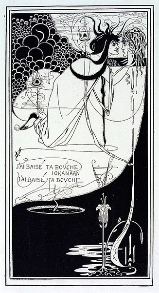 Design for The Climax from Oscar Wilde's Salome; J'ai baisé ta bouche Iokanaan 1893 (made) Artist/Maker:  Beardsley, Aubrey Vincent, born 1872 - died 1898 (designer) The Victoria and Albert Museum