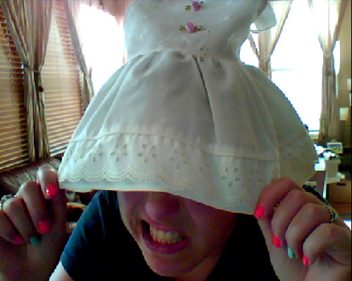Tried on one of my childhood dresses… It's a bit tight.