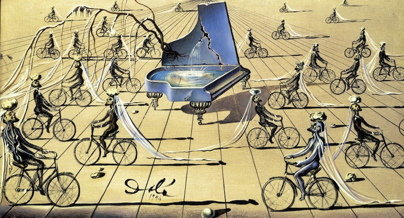 "surrealism:  Sunday Dalí: Sentimental Colloquy, 1948. Oil on canvas. 10 ¼ x 18 ½ inches. Salvador Dalí Museum, St. Petersburg, Florida. I saw this piece this weekend. It was surprisingly small. In fact, most of the pieces I love were so skewed in scale in my head. This one is sometimes called a ""study"", which is a word that diminishes its seriousness. It's not a study at all. It's a complete concept en route to a larger work (which was never performed.) Update: Tumblr fail, again. Ugh. Oh well. BONUS SURREALISM!1  Actually no. I'm retracting the previous post and re-posting it tomorrow. It's unfair to the artist to do otherwise. ↩"