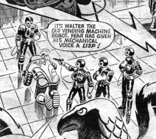 fabxxl:  2000AD Prog 13. Judge Dredd. Walter is a powered bottom.  All I can confirm is that Walter has mechanical buttocks.