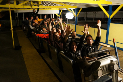 Cast and crew of Scream Park, enjoying a roller coaster ride!