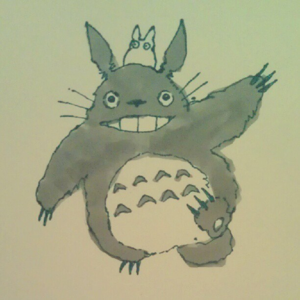I also drew #Totoro. :3 #drawings #illustration #marker (Taken with Instagram)