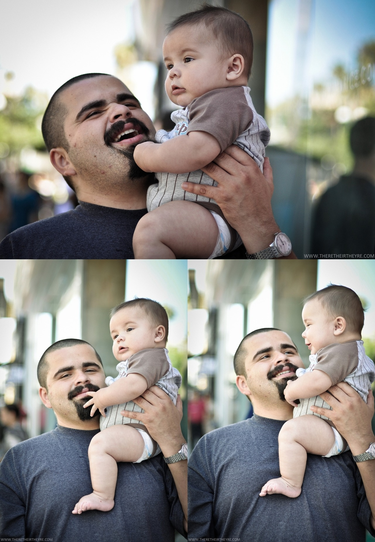 Trying the 100 strangers thing. here's #1, baby Nathan and proud dad. photographed at the 3rd St. Promenade in Santa Monica. 07/15/2012.