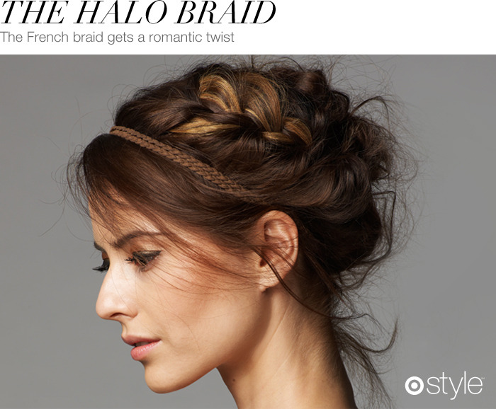 Beauty Corner: The Halo Braid Get this gorgeous crown by creating a loose French braid on the side of your head and wrapping them into a bun at the base of your neck. Hold with hairspray and tease for a softer look. own it now: hairspray.