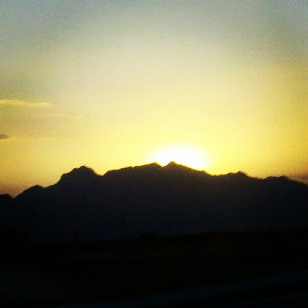 Sun behind in mountain! (Taken with Instagram)