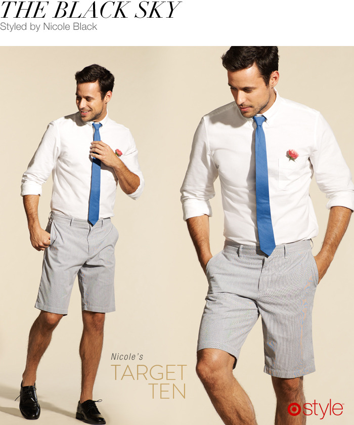 Nicole Black's Target 10: The Black Sky own it now: oxford shirt. tie. shorts. shoes.