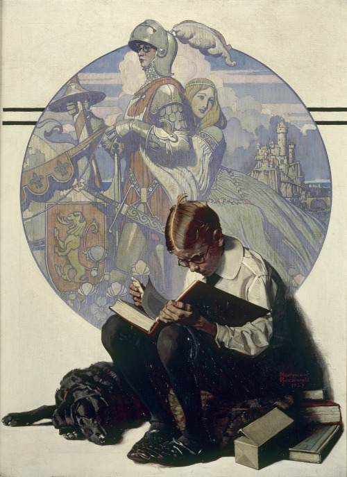 "books0977:  Lands of Enchantment (1923). Norman Rockwell. Oil on canvas. Collection of George Lucas. Cover for The Saturday Evening Post, November 10, 1923. Work was featured in the 2011 Smithsonian American exhibition titled Telling Stories: Norman Rockwell from the Collections of George Lucas and Steven Spielberg. George Lucas' favorite, Lands of Enchantment, shows a youngster imagining himself as an armor-clad knight riding away with a beautiful girl. The point is not the boy reading, but how the book inspires the boy's imagination, taking him, in idealized form, to another time and place. ""It's a painting celebrating literature, the magic that happens when you read a story and the story comes alive for you,"" notes Lucas."