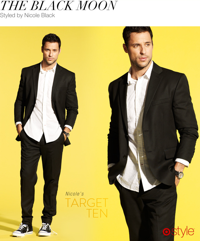 Nicole Black's Target 10: The Black Moon own it now: black suit jacket. black suit pants. oxford shirt. converse one stars. watch (shop in store).