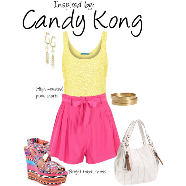 Candy Kong (Donkey Kong 64) by ladysnip3r featuring gold bangles This outfit is inspired by Candy Kong of Donkey Kong 64. I chose a bright, fun outfit based off her pink in-game outfit. I paired bright high waisted shorts with a sequined yellow top for a feminine, yet sophisticated look. I also chose colorful tribal sandals to add some fun to the outfit. (Reference Image) Finders Keepers pleated shorts, $125 / Betsey Johnson platform heels / Kathy Van Zeeland shoulder handbag / K. Amato tribal jewelry / Jigsaw gold bangle, $60