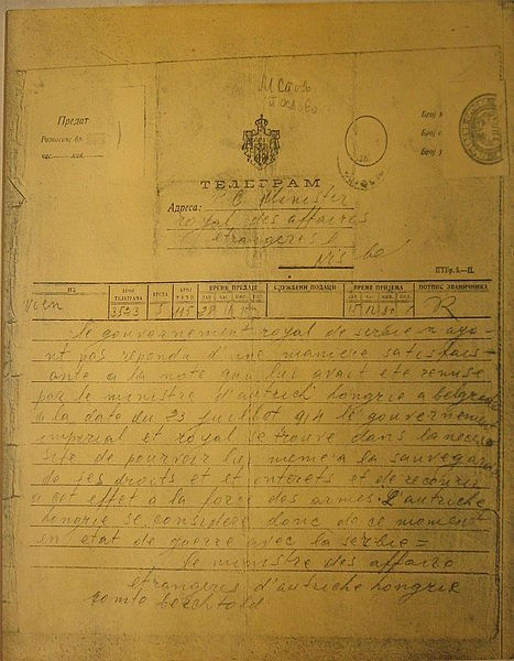 collective-history:  Declaration of war. Austro-Hungarian government's telegram to the government of Serbia on 28 July 1914.