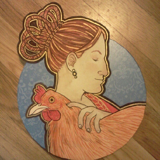 Finished the chicken lady painting! (Taken with Instagram)