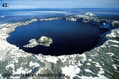 42. Crater Lake, Oregon  Crater Lake was created about 7,700 years ago when Mount Mazama collapsed. I want to go stand on Wizard Island (that form near the edge of the lake).