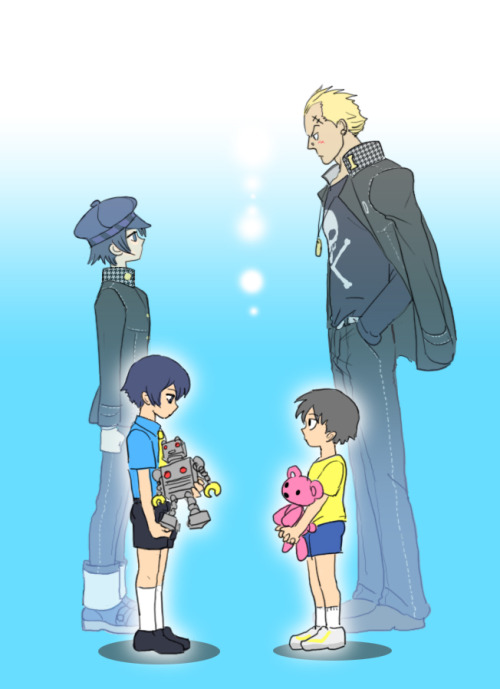 [Image: fanart of Naoto Shirogane and Kanji Tatsumi from Persona 4. In the back are slightly faded images of the two in their high school uniforms looking at each other; in the front are their child selves, Naoto holding a toy robot and Kanji a pink teddy bear.] axlestukov:   This is just perfect.   10年後になりたかった姿は by 弐佳(nika)