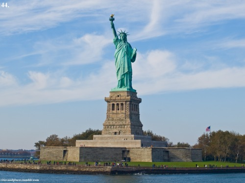 44. Statue of Liberty, Liberty Island, NYC, NY  A gift from France in 1865 at the end of Civil War, this statue is now one of a national treasure on an island on Liberty Island in Upper New York Bay in New York City.