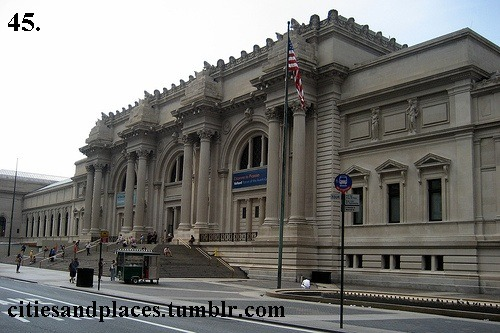 45. The Met, NYC, NY  The Metropolitan Museum of Art is a pinnacle of modern art. It has more than 2 million works of art representing thousands of artists.